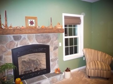 Family/Living Room with Riverstone Fireplace