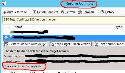 In the dialog presented for resolving conflicts, the user is told no conflicts were found.
