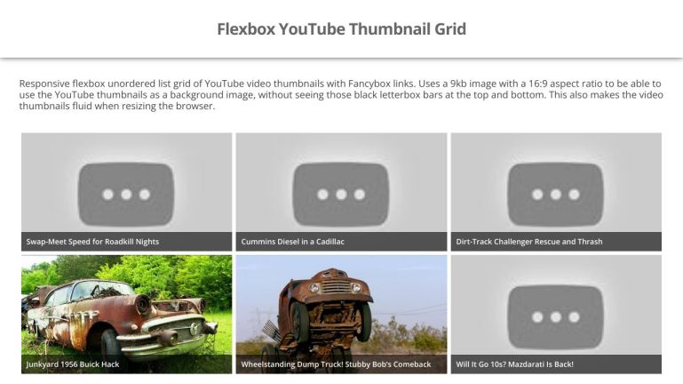 Flexbox YouTube Thumbnail Grid