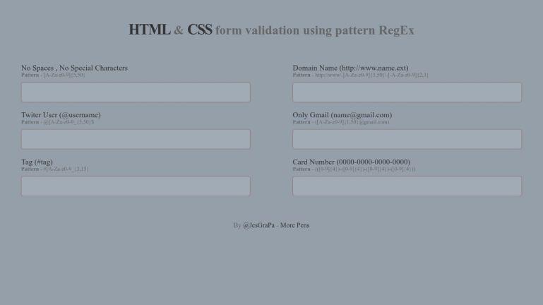 HTML & CSS form validation using pattern RegEx