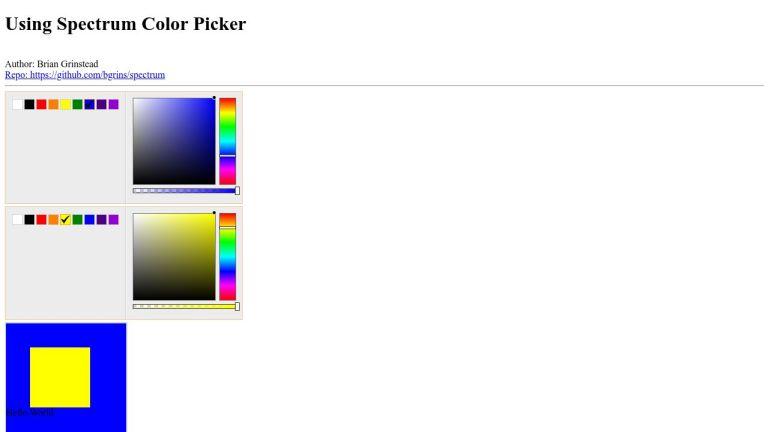 Using Spectrum Color Picker