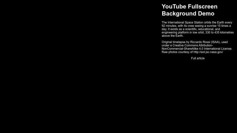 FullScreen YouTube Video Background In Pure CSS