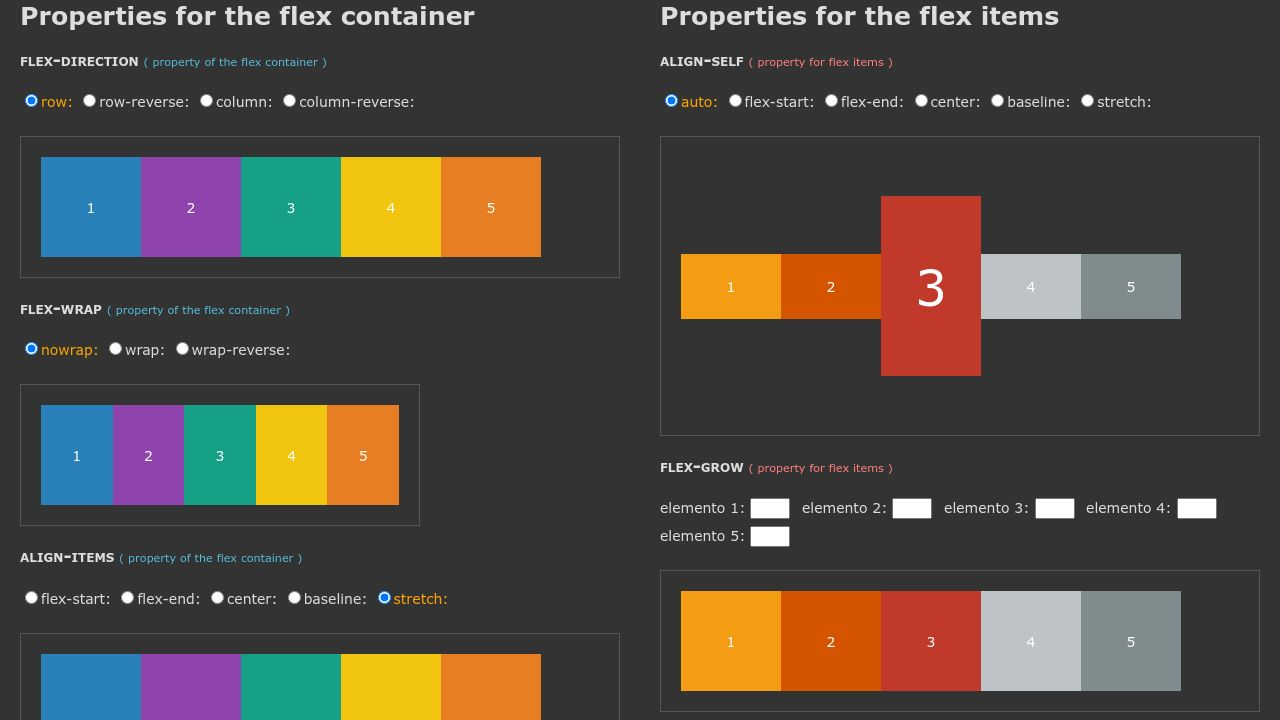 Codepen Flexbox Playground