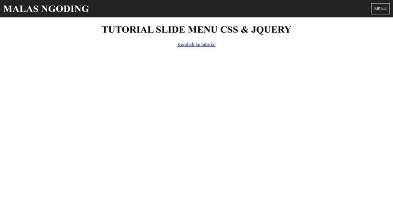 Sliding menu CSS & jQuery