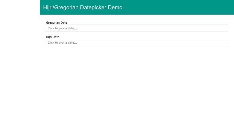Hijri/Gregorian Datepicker Demo