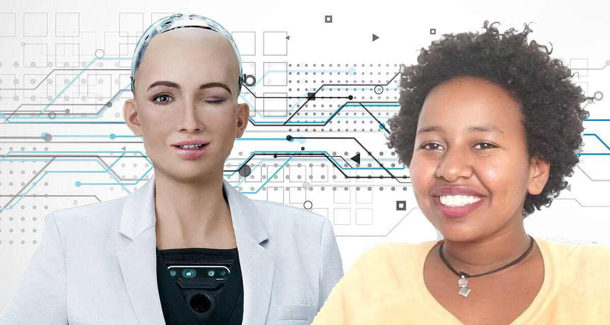 Betelhem Dessie and Sophia the robot at Ethiopia's First AI lab iCog
