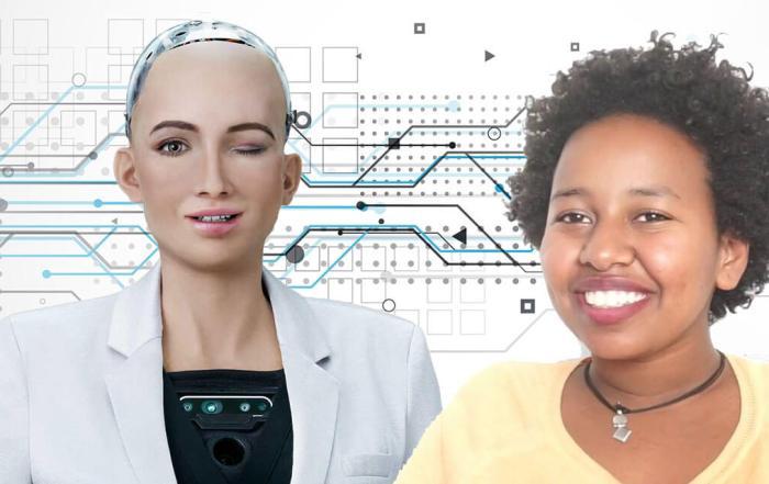 Betelhem Dessie and Sophia the robot at Ethiopia's First AI lab iCog