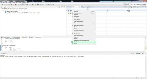 Code Composer Studio Graphing Tool Tutorial Watch Expression Right Click MSP430 Tiva C C2000