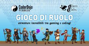 Locandina per l'incontro di CoderDojo Perugia e La Corte di Carta