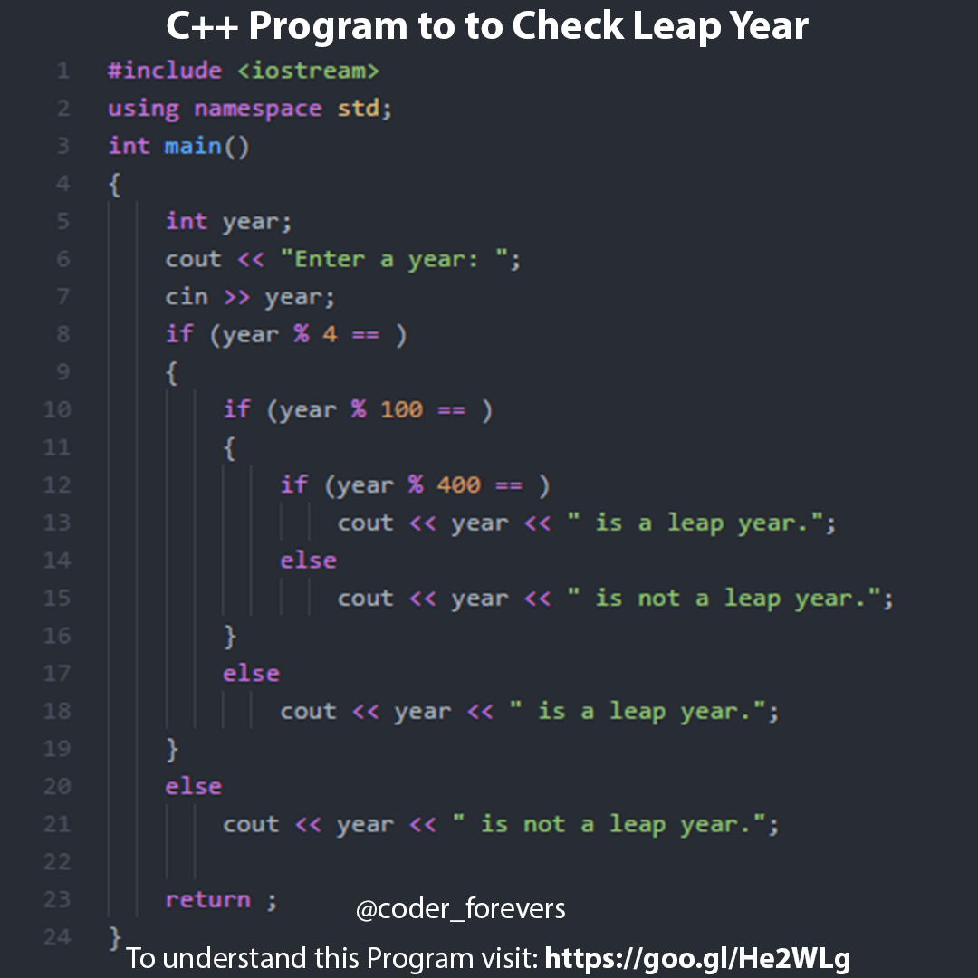 C++ Program To Check Leap Year (In Just 10 Lines Of Code