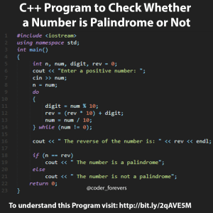 C++ Program to Check Whether a Number is Palindrome or Not