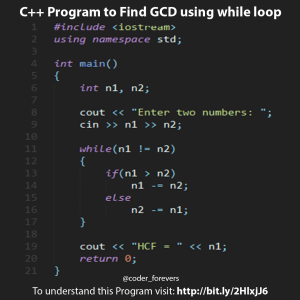 Find GCD using while loop
