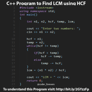 C++ Program to Find LCM using HCF