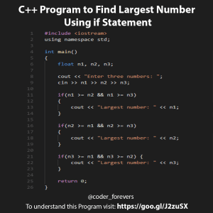 Program to Find Largest Number Using if Statement