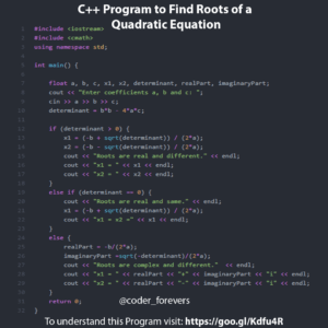 C++ Program to Find Roots of a Quadratic Equation