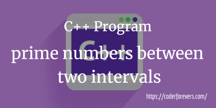 prime numbers between intervals