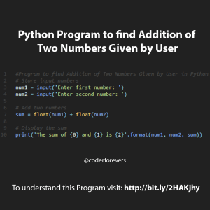 Python Program to find Addition of Two Numbers Given by User