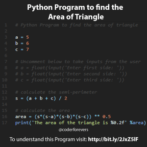 Python Program to find the area of Triangle
