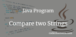 Program to compare two strings in Java