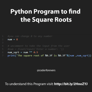 Python Program to find the Square Root
