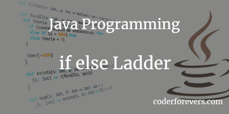 Java if else Ladder Tutorial