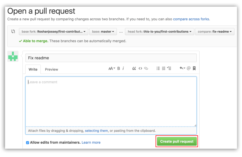 Tạo pull request mới trong Github