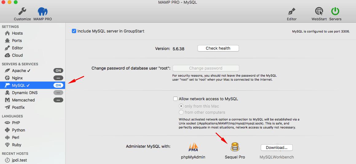 Mở Sequel Pro trong MAMP trên máy Mac