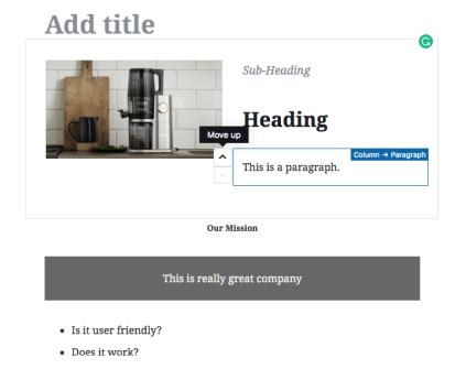 Di chuyển các khối trong Gutenberg thuận tiện hơn nhiều.