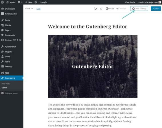 Ẩn Post Settings trong Gutenberg