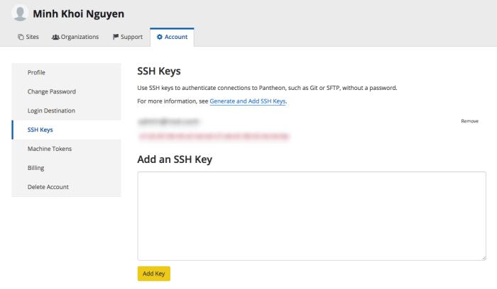 Thêm SSH Key vào tài khoản Pantheon