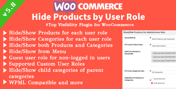 WooCommerce Show/Hide Products | Products, Categories Visibility By User Roles