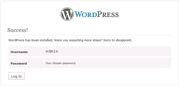 WordPress site configuration completed