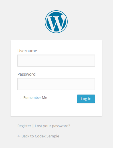 WordPress login form page screenshot