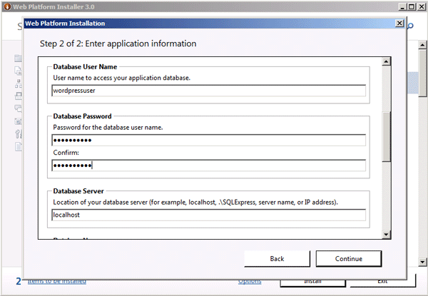 Application configuration (continued)