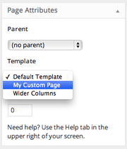 Screenshot of Page Attributes module with Template select options pulled down