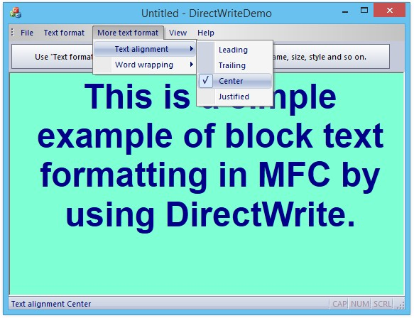 MFC Support for DirectWrite (Part 2) – Demo Application