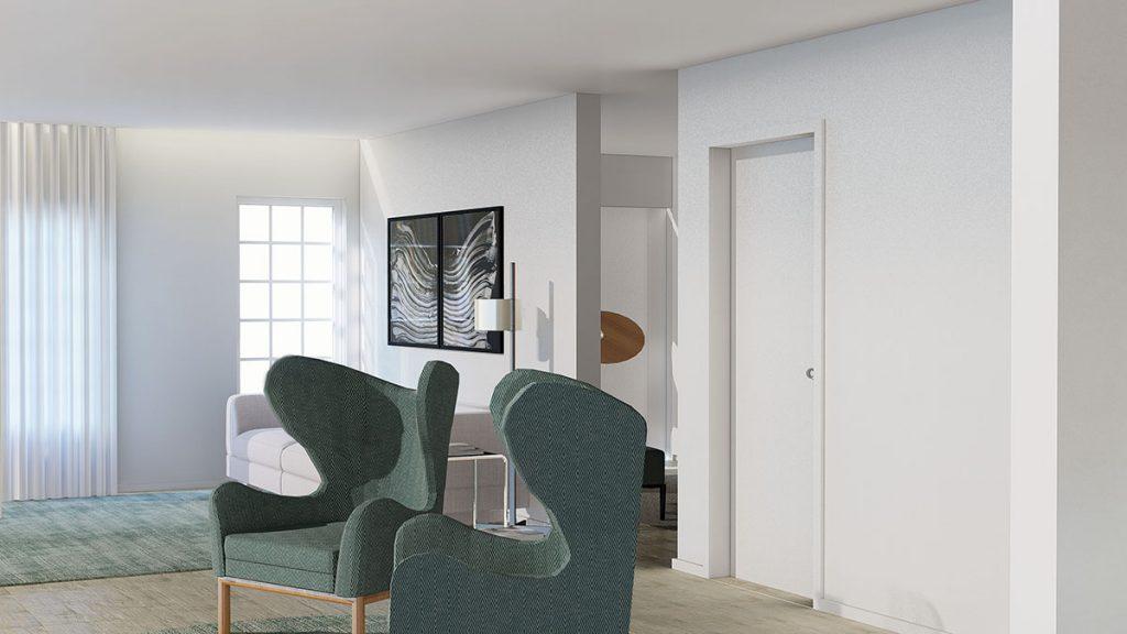 Projeto design de Interiores de uma moradia em Évora, poltronas na sala de estar