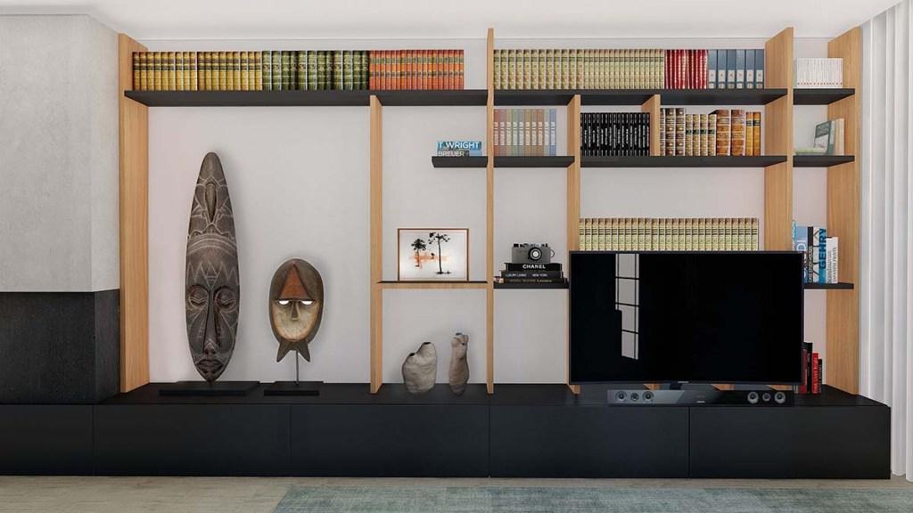 Projeto design de Interiores de uma moradia em Évora, estante TV desenhada à medida