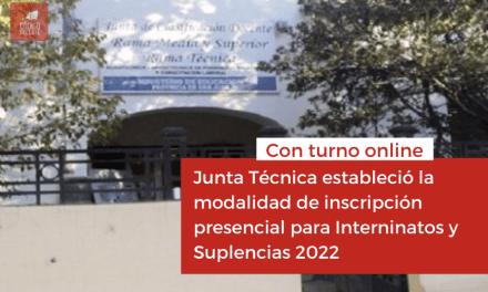 <h6>Con turno online</h6><h1>Junta Técnica estableció la modalidad de inscripción presencial para Interninatos y Suplencias 2022</h1>
