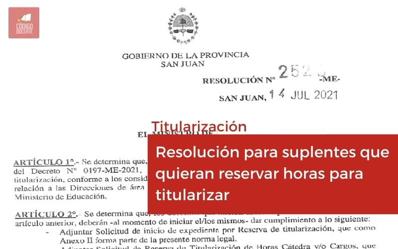 Resolución para suplentes que quieran reservar horas para titularizar