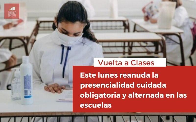 <h6>Vuelta a Clases</h6><h1>Este lunes reanuda la presencialidad cuidada obligatoria y alternada en las escuelas</h1>