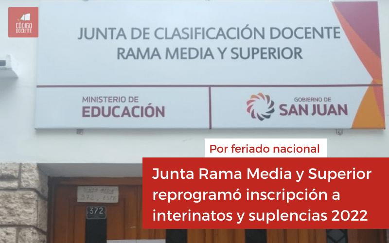 Junta Rama Media y Superior reprogramó inscripción a interinatos y suplencias 2022