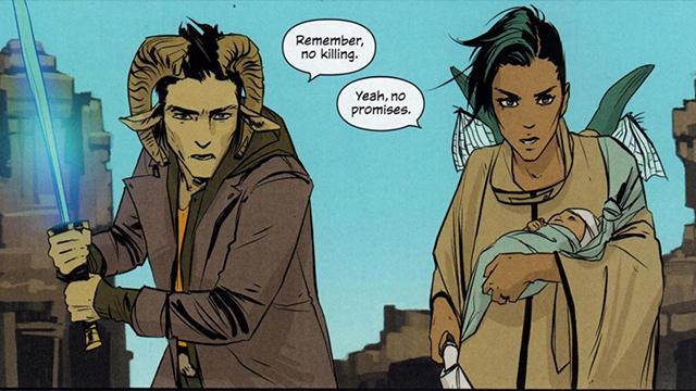 Alana, del cómic Saga, proviene del planeta Landfall; y Marko de Wreath, una de sus lunas