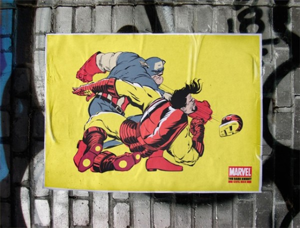 Póster pegado en la calle de la serie The Dark Knight Civil War