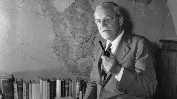 This is a rare photograph of Allen W. Dulles, Director of the U.S. Central Intelligence Agency, in his Washington, D.C. office on July 28, 1954. Here in this office, a setting where few photographers have access, Dulles directs the super-secret CIA organization whose lines of espionage and information spread around the world and penetrate behind the Iron Curtain. Behind him is a map which he often consults, showing North America and the Soviet Union at top. (AP Photo)