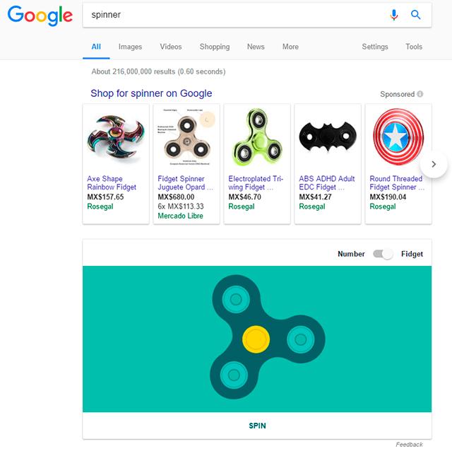 Google tiene un fidget spinner oculto en su buscador