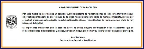 Mensaje de la Facultad de Ingeniería de la UNAM.