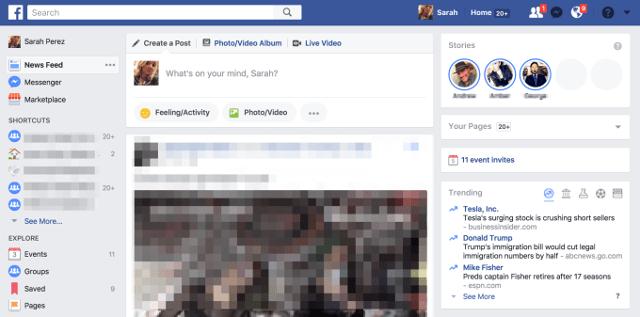 Así es la versión de escritorio de Facebook Stories (fuente: techcrunch)