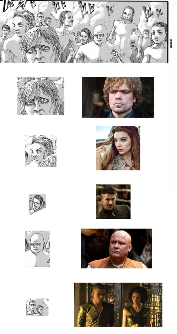 Los personajes de Game of Thrones hicieron un cameo en Attack on Titan