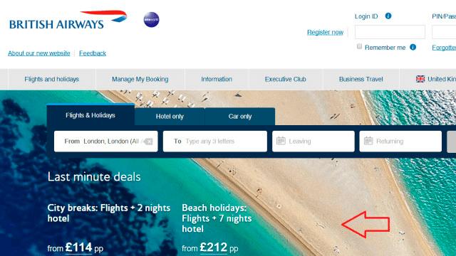 otros sitios, como British Airways siguen usando la imagen
